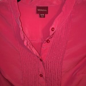 Merona Hot Pink Pleated Button Up Blouse